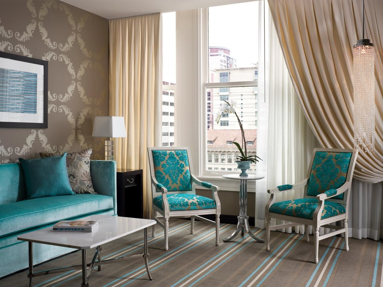 Beautiful living room in brown and turquoise