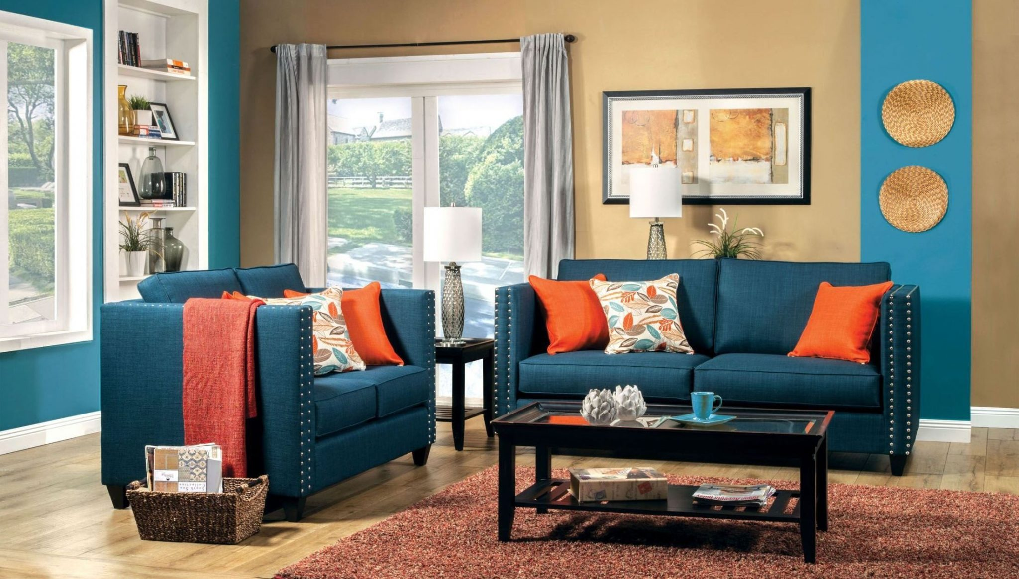 Admirable living area in brown and turquoise