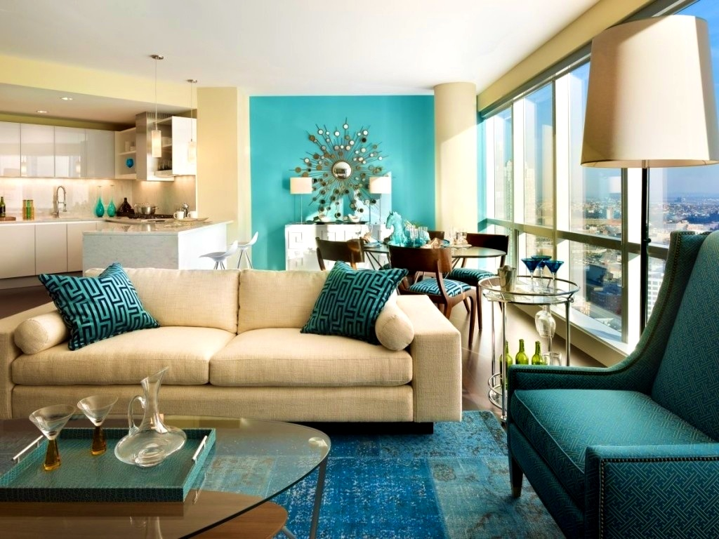 Pleasant living room in brown and turquoise