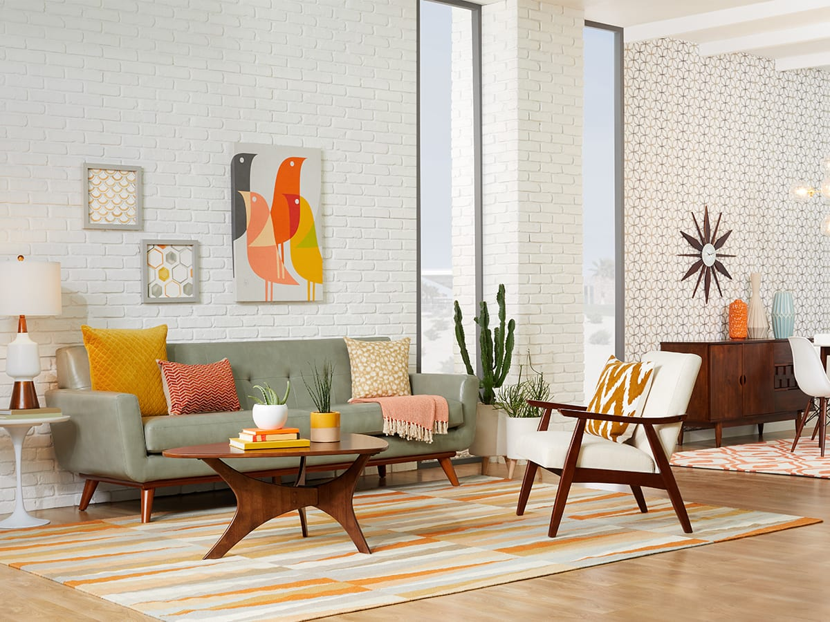Living room with mid-century accent chairs