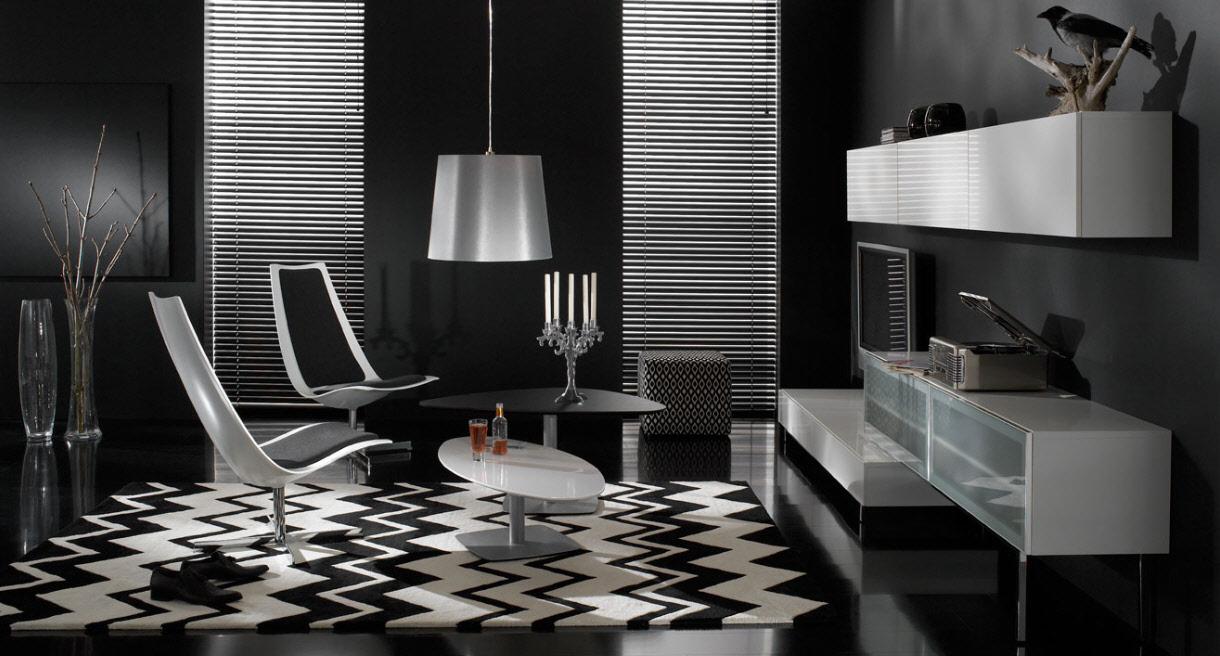 Futuristic black living room
