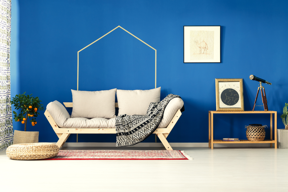 Stylish blue living room