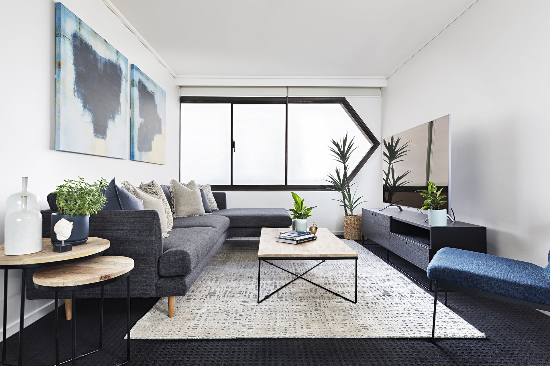 Fresh, minimalist living room in gray and blue