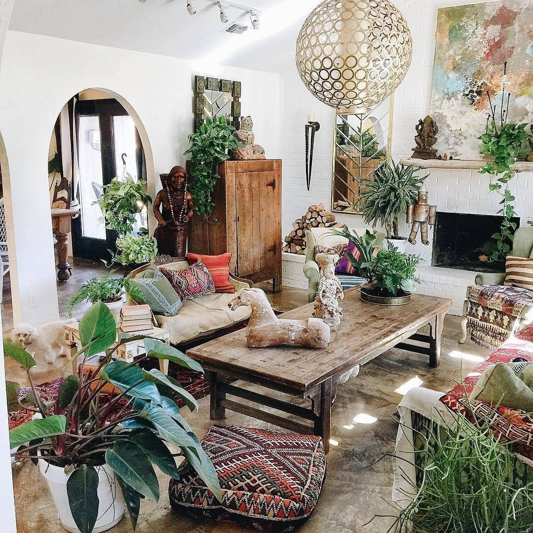 White ordinary fireplace in the bohemian living room