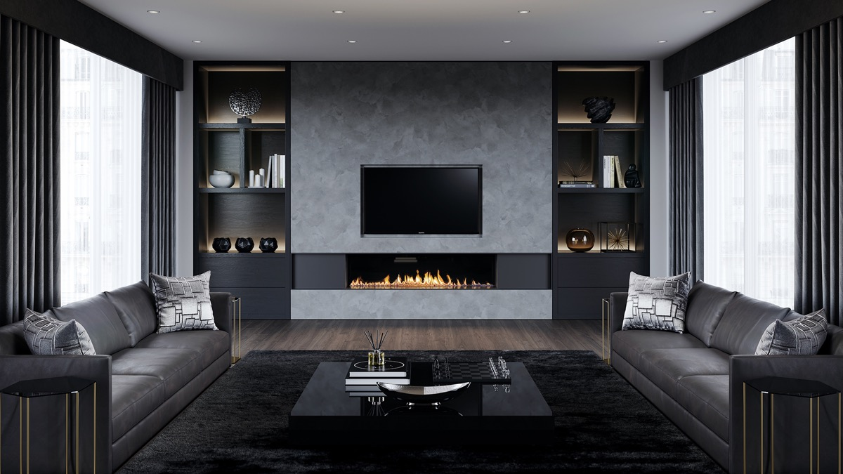 Modern fireplace in the black and gray living room