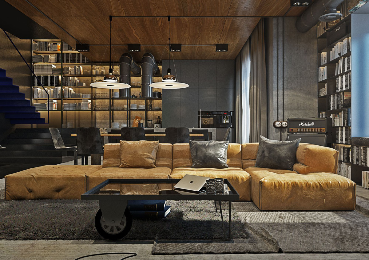Multifunctional, large shelf in the masculine living room