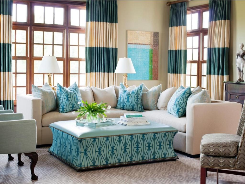 Creamy blue-green and brown living space