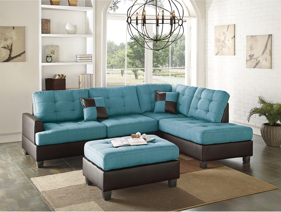 Casual living room in teal and brown brown