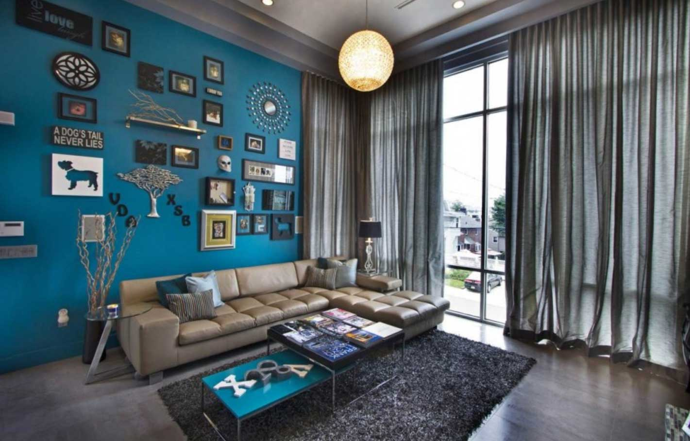 Carefree blue-green and brown living area