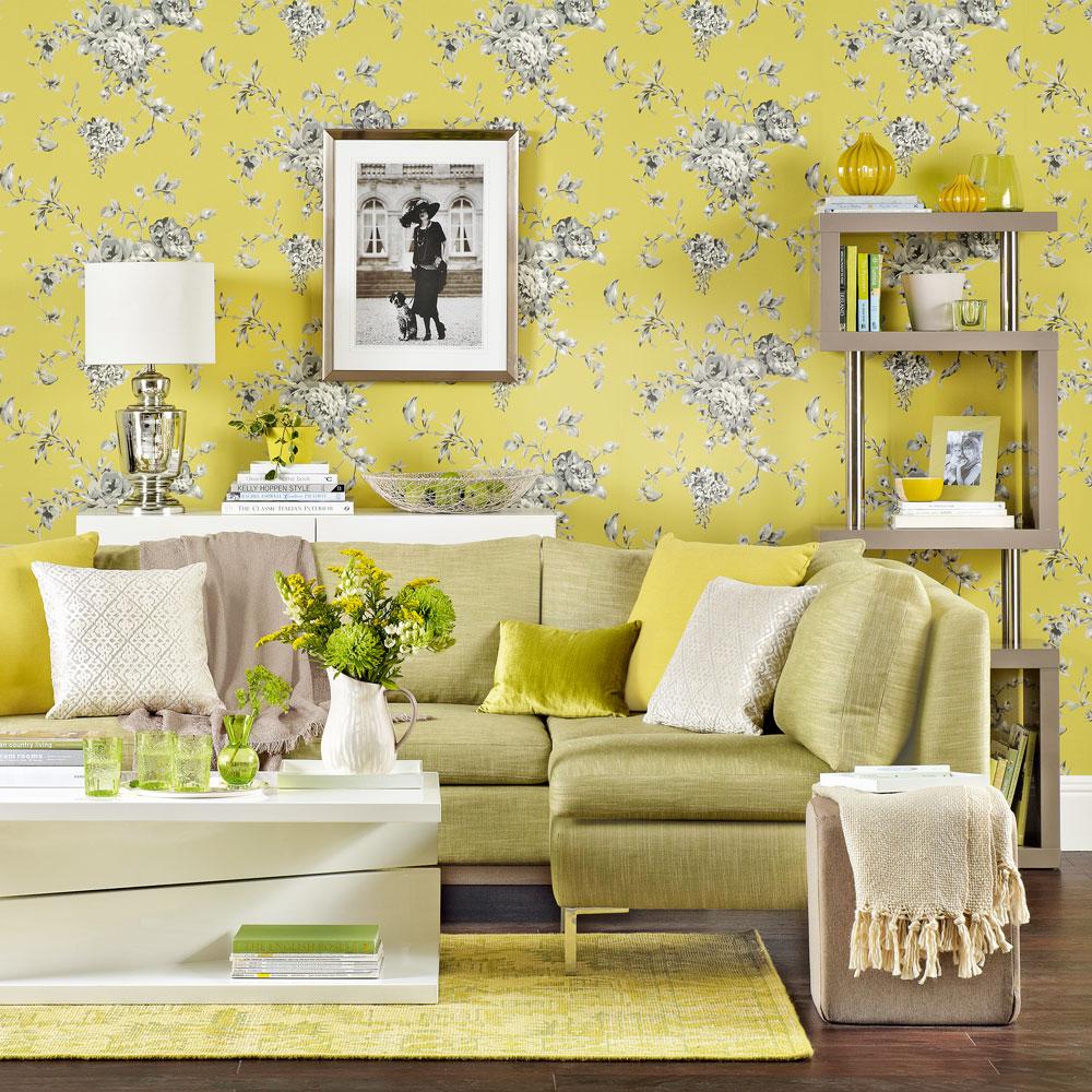Stylish yellow living room