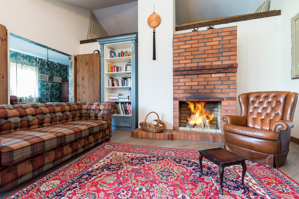 Idea for a red brick fireplace
