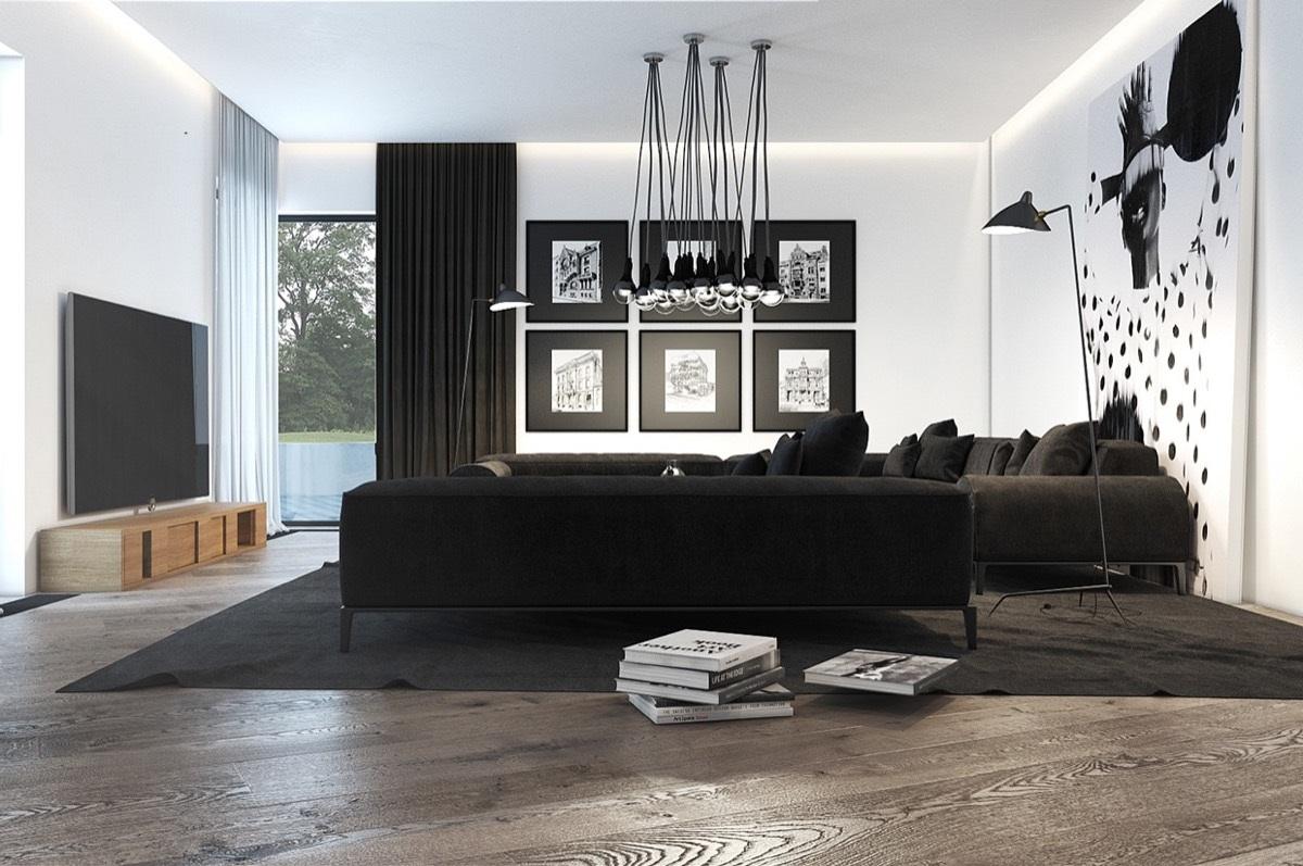 Creative black living room