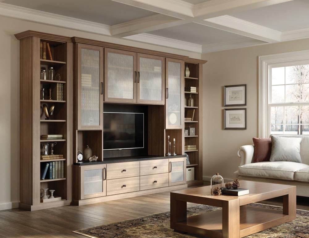 Brown living room storage.  Source: Californiaclosets.com