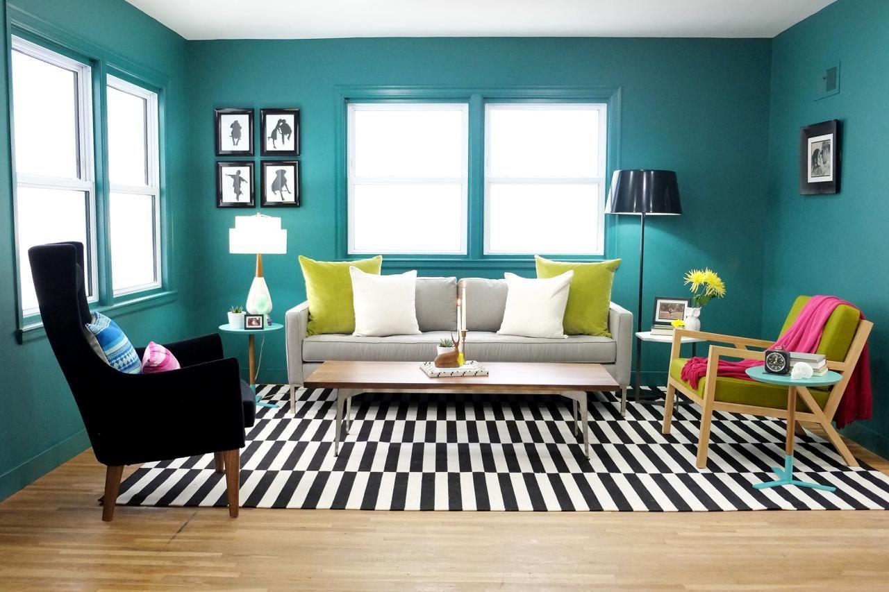 Fabulous blue green living room