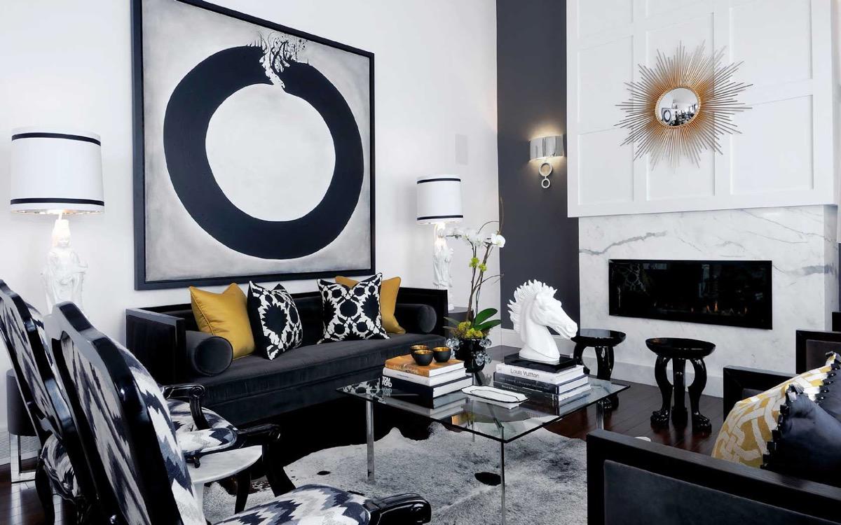 Shimmering, elegant living room.