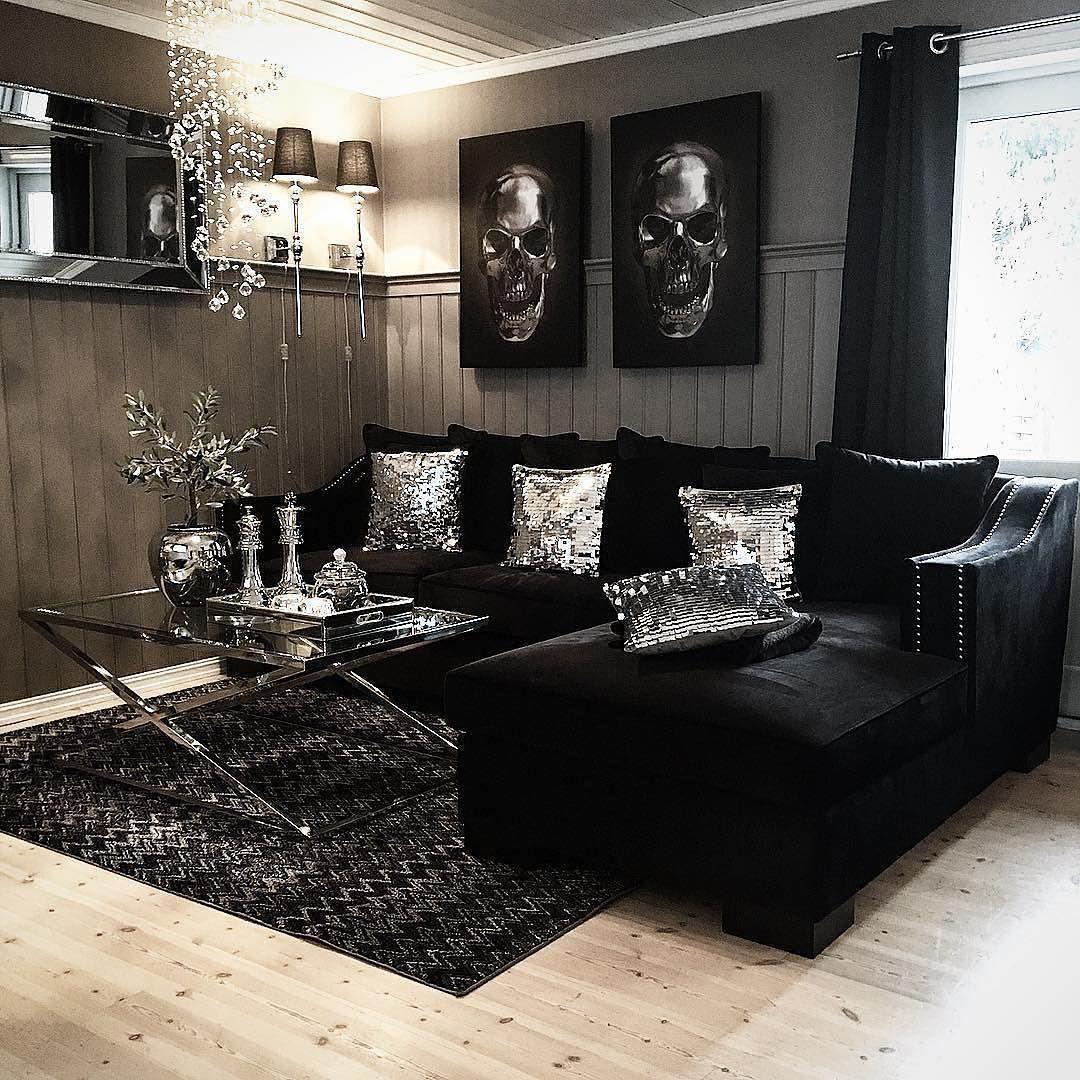 Glam Black living room