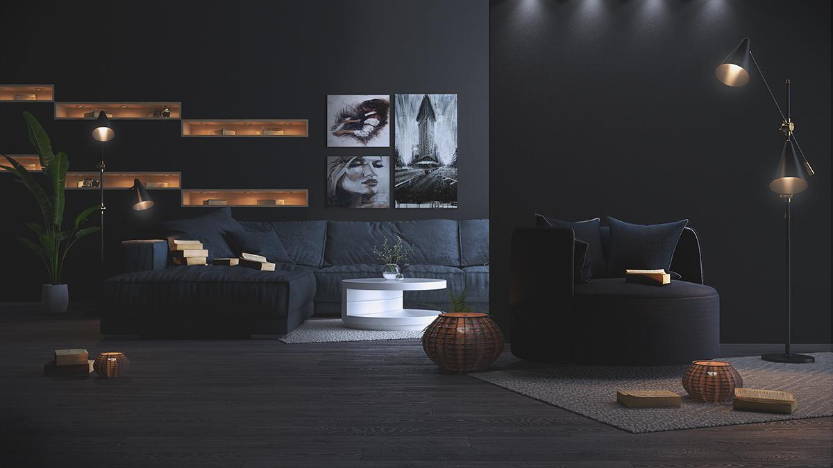 Dramatic black living room