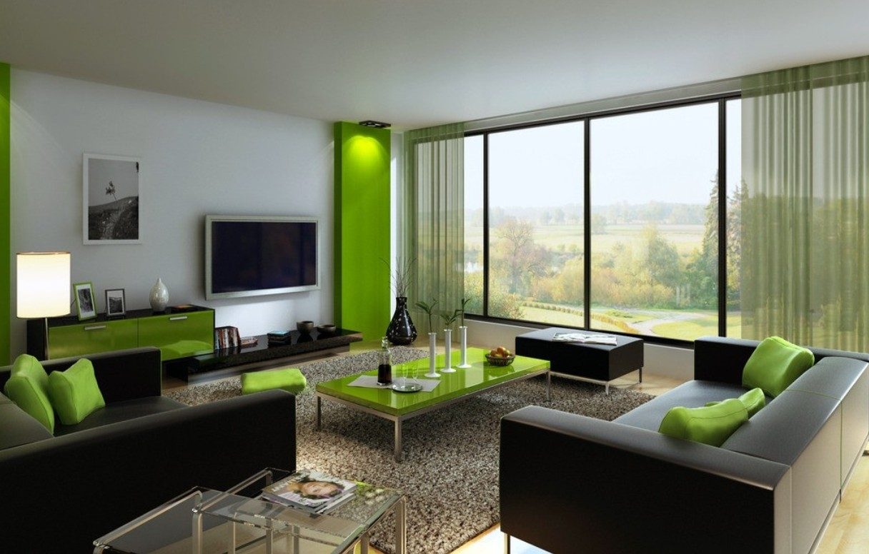 Living room with green table.  Source: blueridgeapartments.com