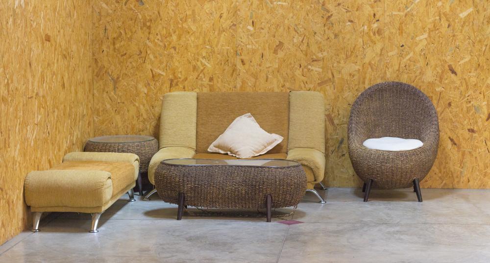 Living room corner in earth tone