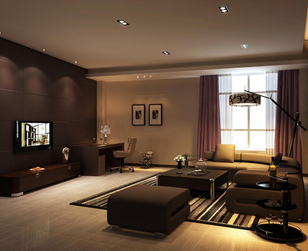 Dark brown living room.  Source: kalvez.com