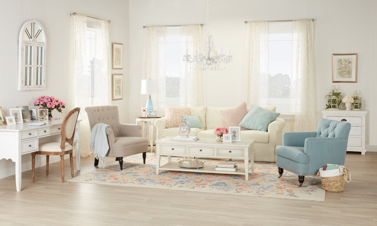 1. Nice spacious living room in shabby chic.  Source: Overstock.com