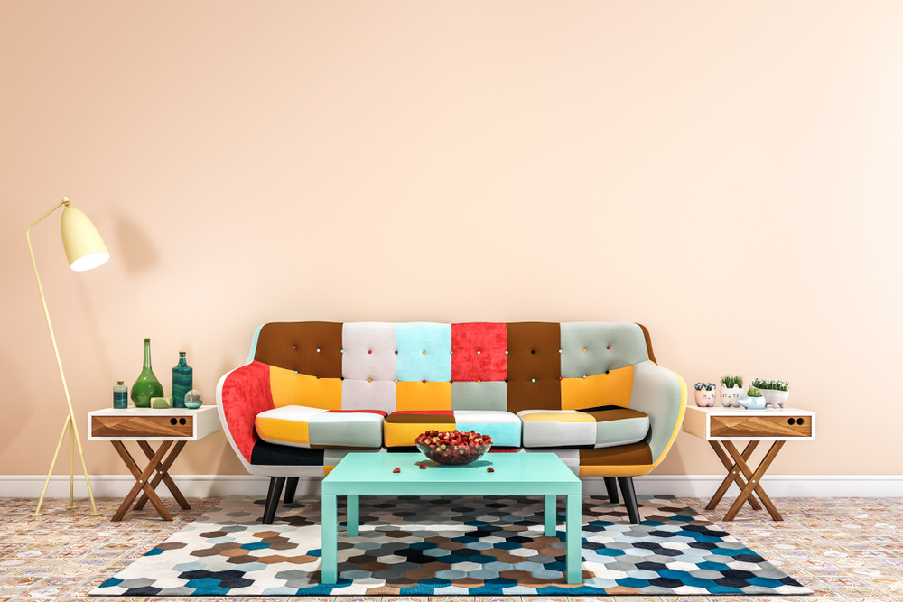 Colorful living room in the basement