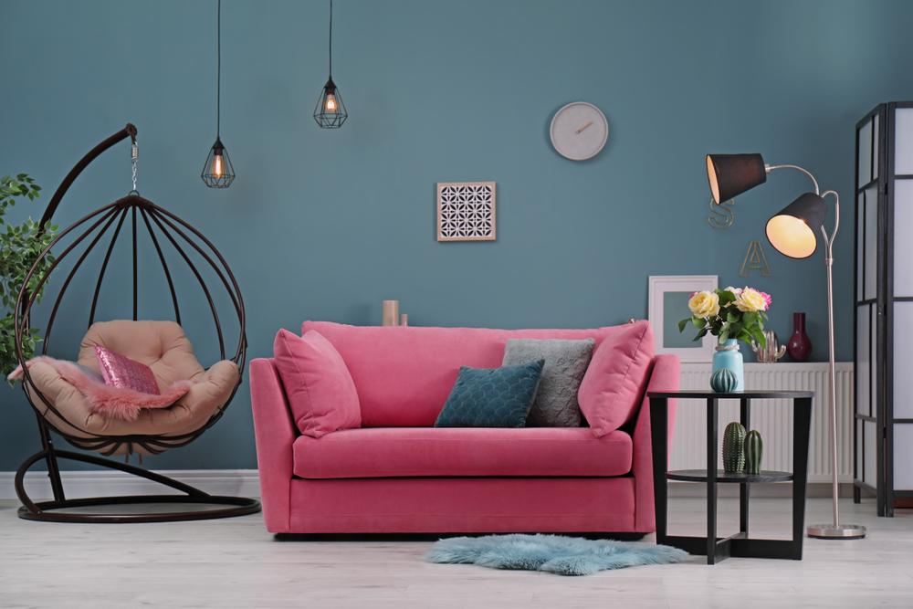 Feminine, casual little living room