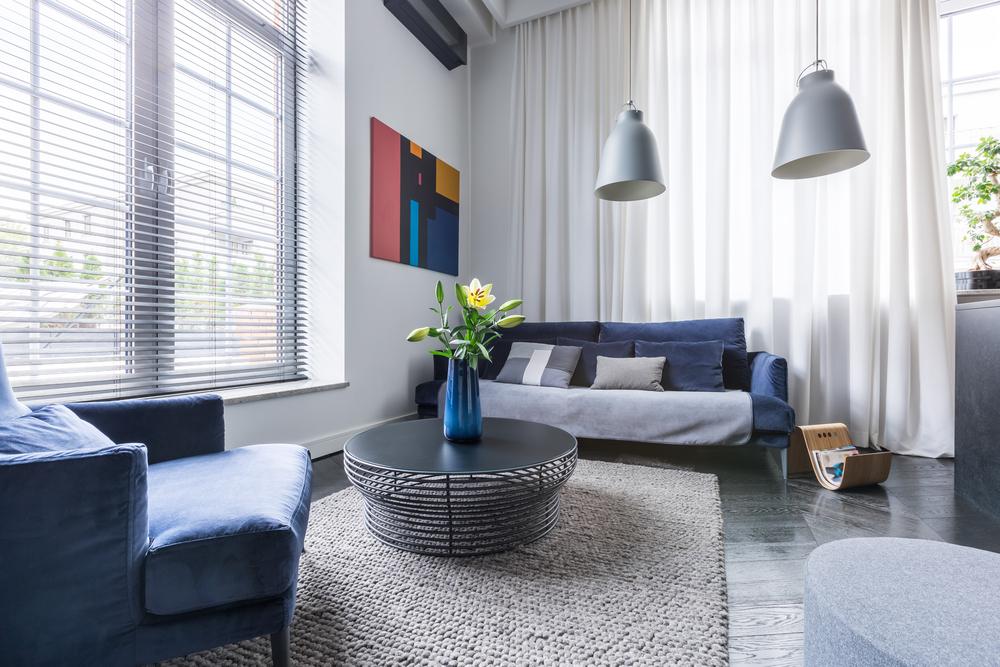 Modern living room with velvet drawer