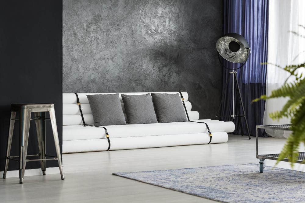 Industrial small black living room