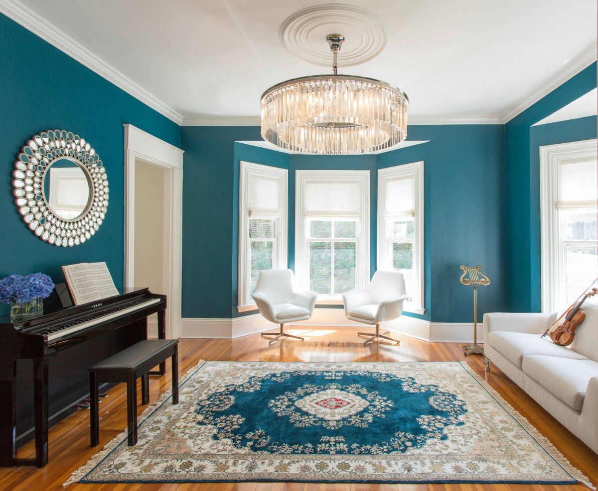 Delicate teal living room ideas