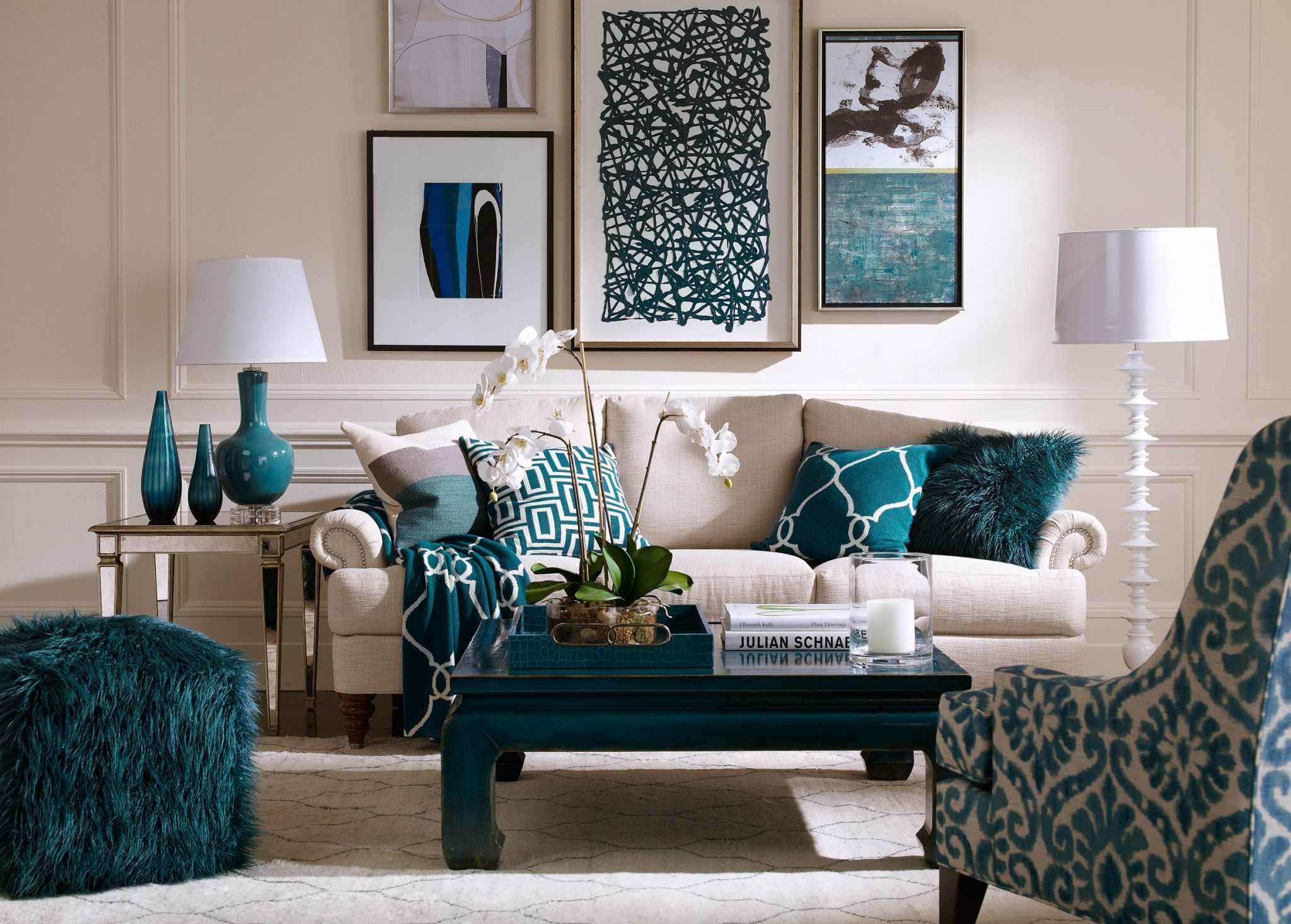 Smart turquoise living room