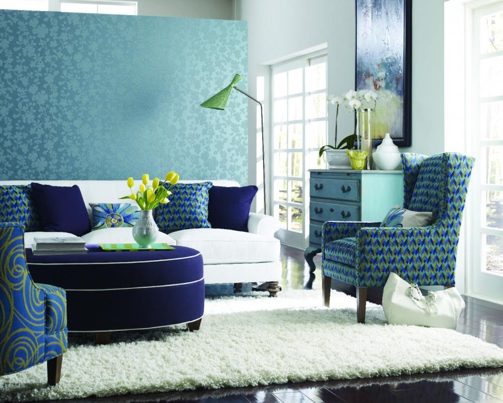 Amazing blue green living room