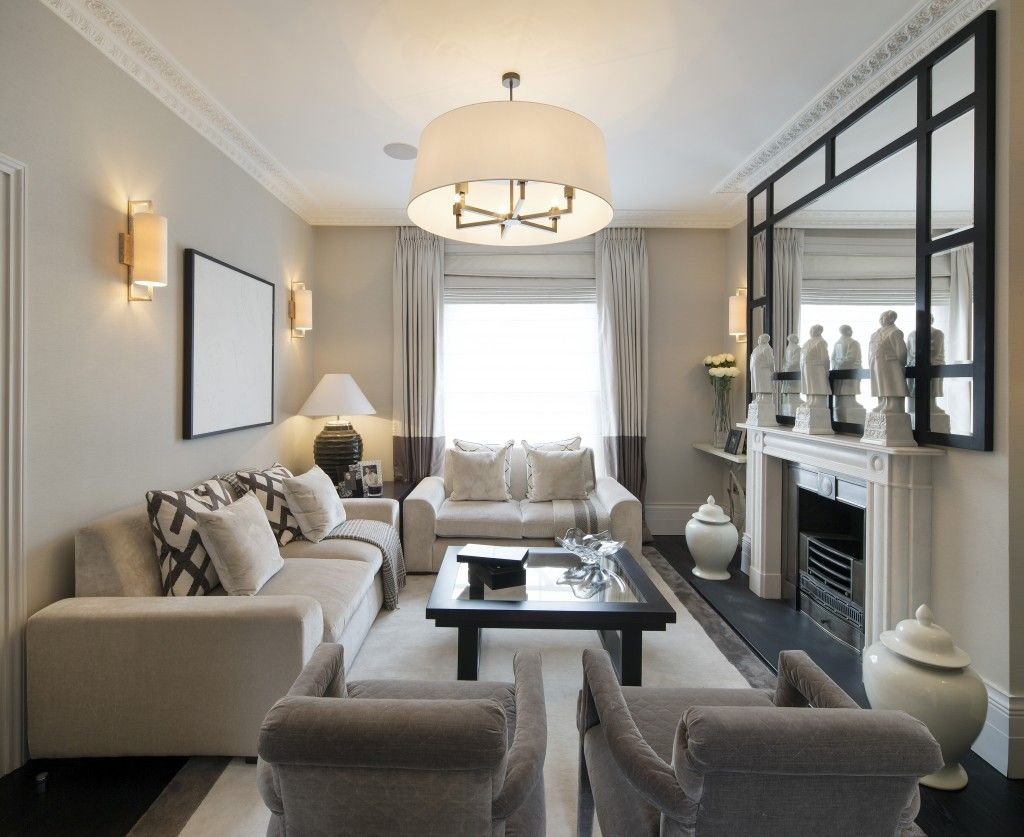 Living room with the right furniture arrangement.  Source: Pinterest.com