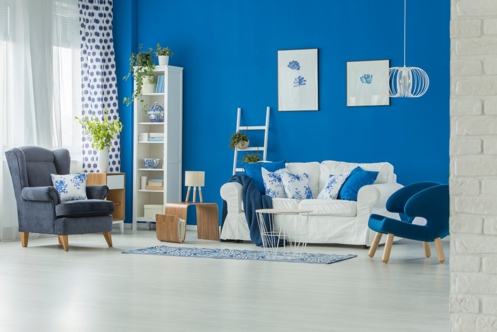 Natural blue living room