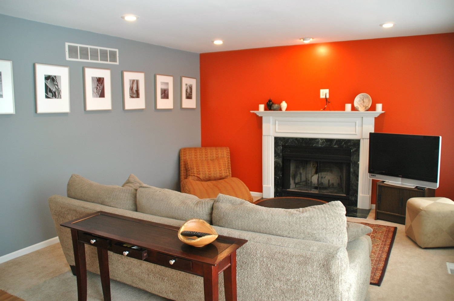 Partly orange living room style