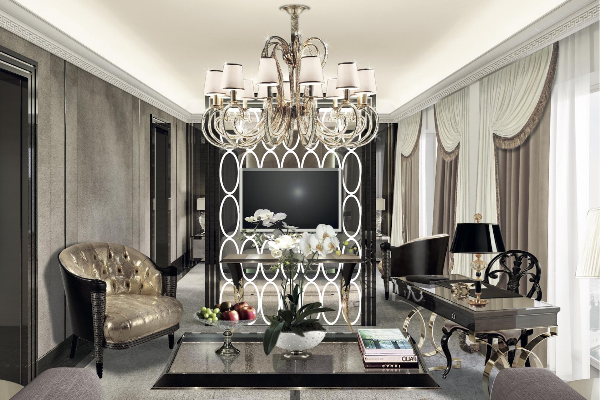 Upscale glamorous living room
