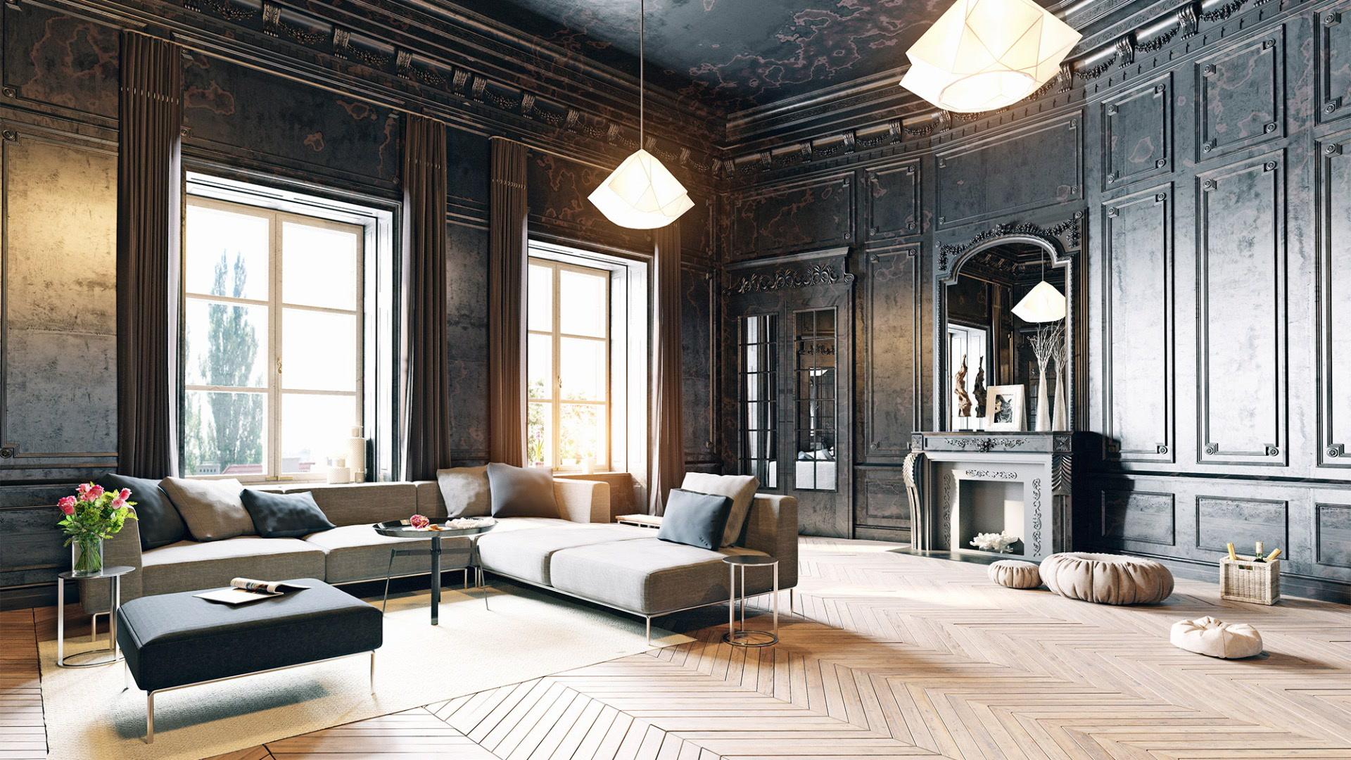 Improved shelf and glamorous living room
