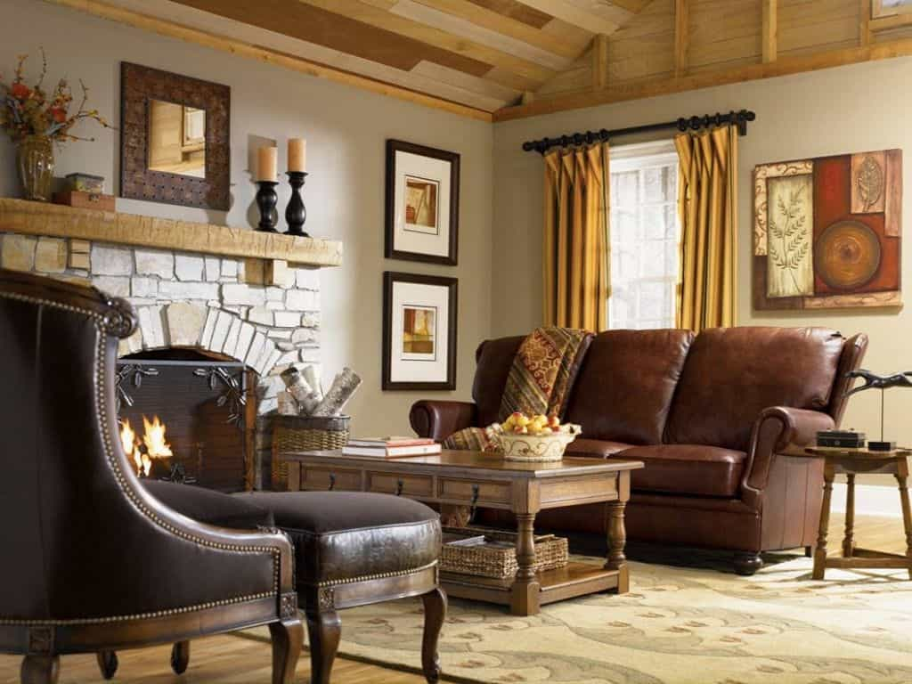 Rustic living room in French country style.