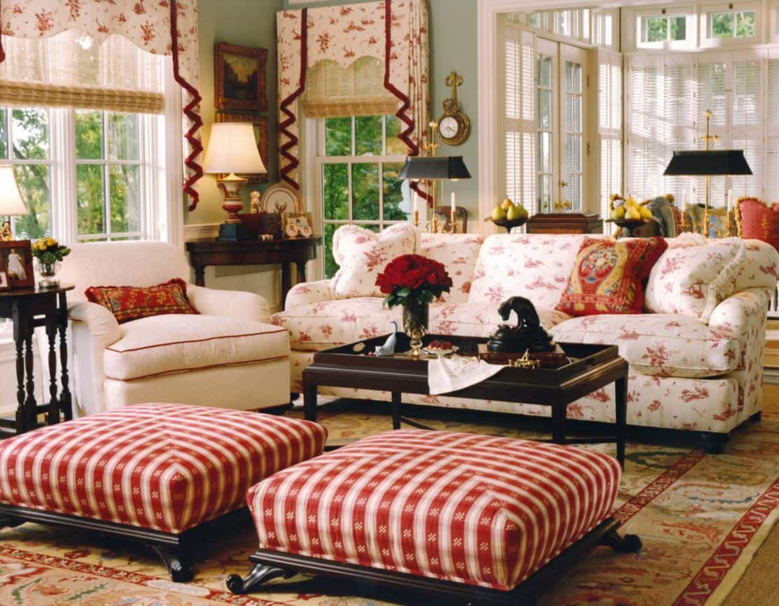 Pretty French country house living room.