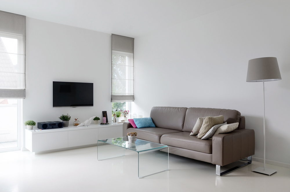 Simple living room with a floating television