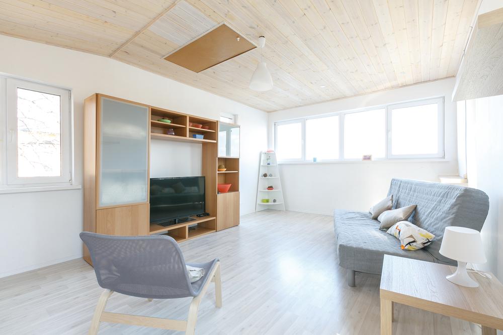 Minimalist living room in the basement