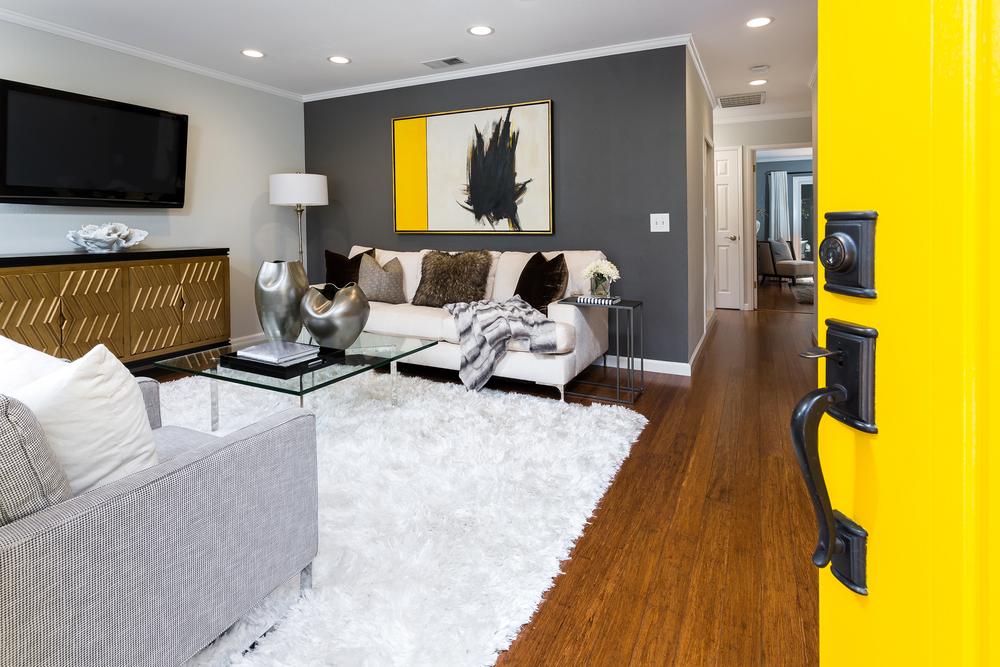 Living room floor made of wood