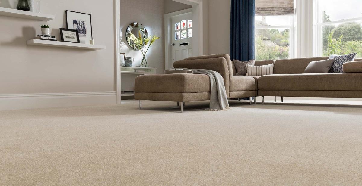 Carpet living room floor.  Source: houseofcarpetsnaples.com