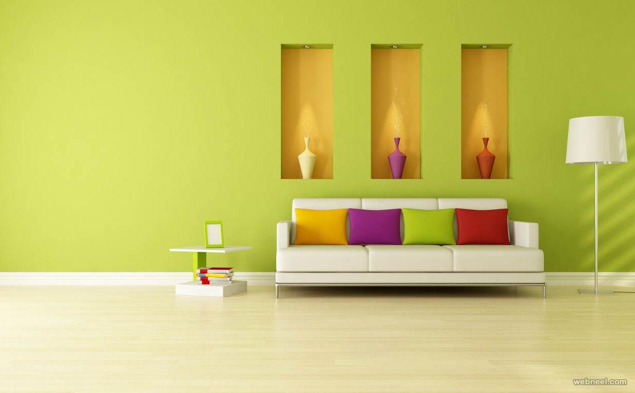 Living room with green walls.  Source: webneel.com