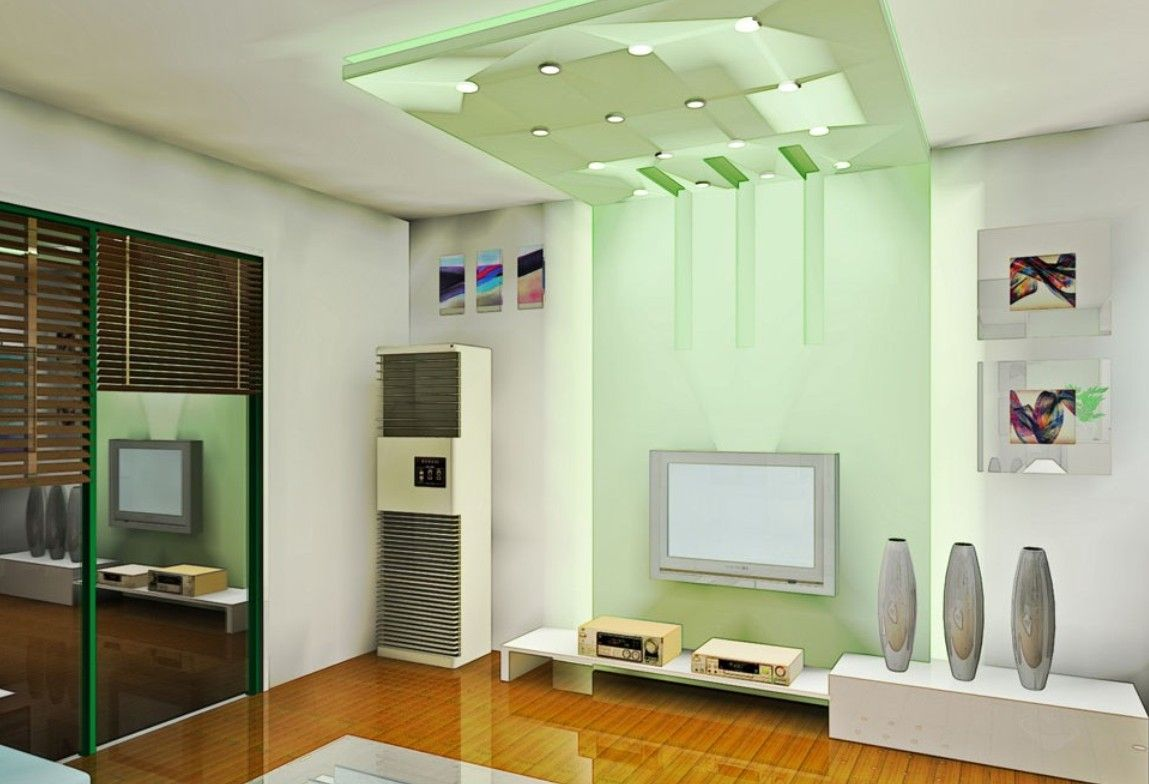 Living room with green ceiling.  Source: Pinterest
