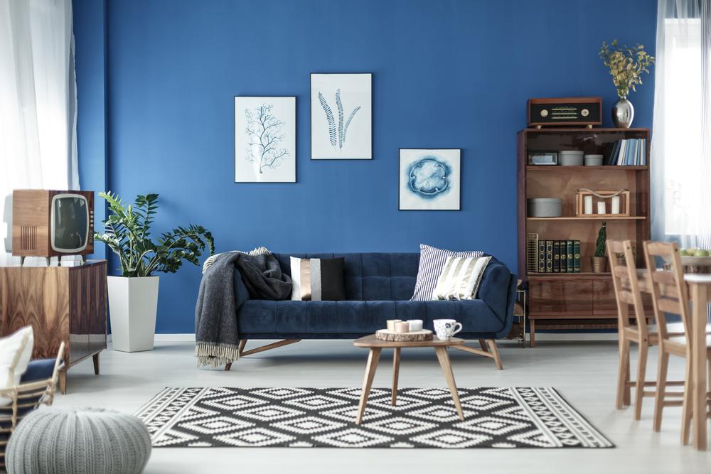 Vintage blue living room