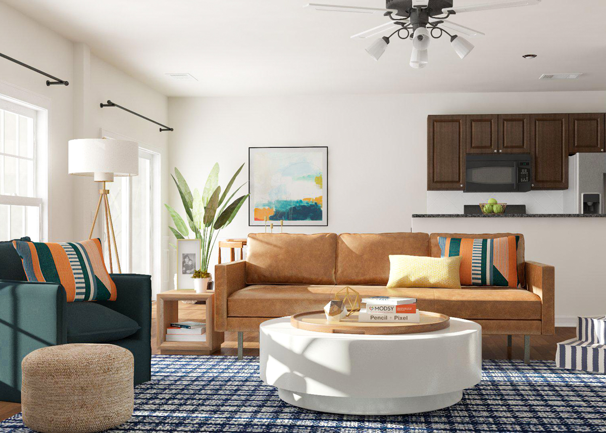 Living room with rounded furniture.  Source: Modsy blog