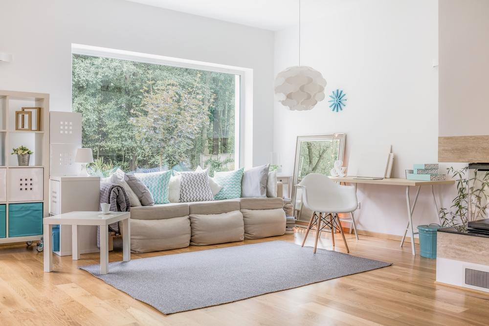 Simple white modern living room
