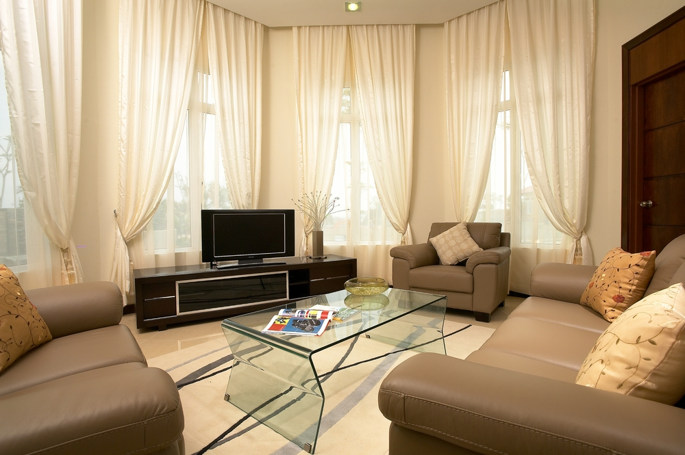 Brownish curtains in the living room