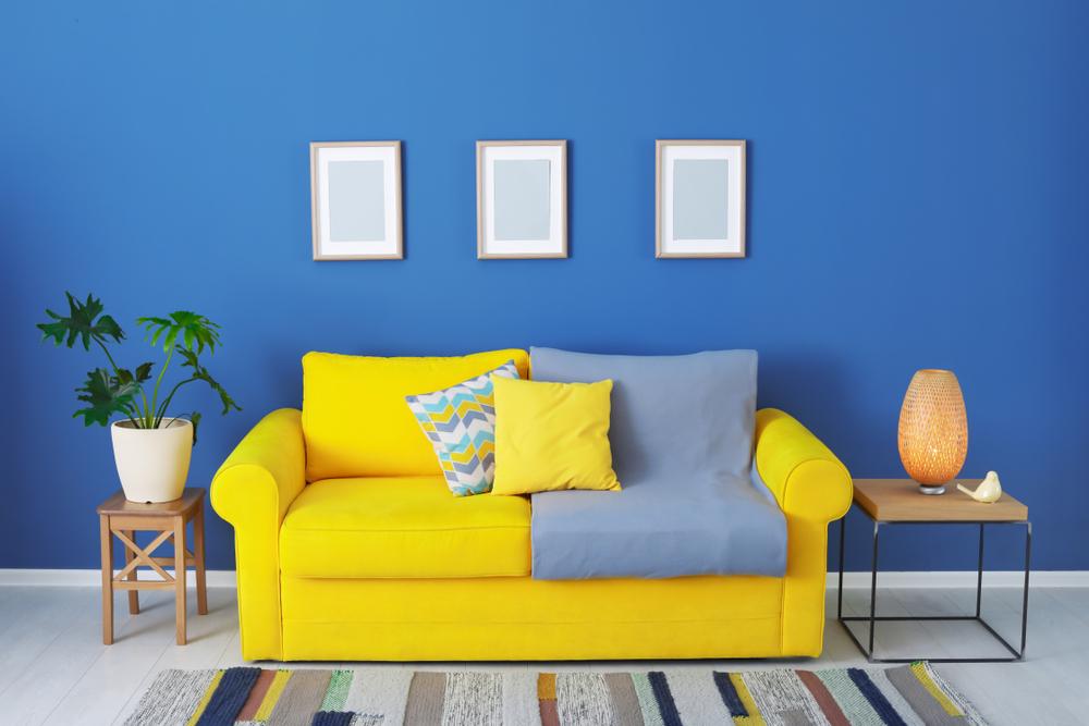 Flashy blue living room